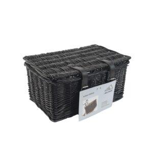 Rieten mand met deksel medium: zwart